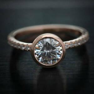 【送料無料】ネックレス ホワイトラウンドカットkローズゴールド125 ct moissanite near white round cut engagement wedding ring 9k rose gold