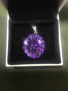 ネックレス アメジストディープパープル18ctホワイトゴールド925ペンダントamethyst deep purple colour 18ct white gold plated 925 silver pendant