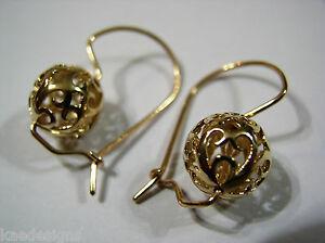 【送料無料】ネックレス イエローゴールドボールドロップイヤリングエクスプレスポスト…9ct yellow gold large heavy 12mm ball drop filigree earrings*free express post i