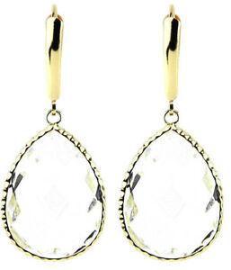 送料無料 ネックレス 即納 イエローゴールドクリアイヤリング14k 日時指定 yellow gold gemstone earrings quartz with large clear crystals
