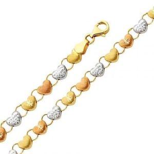 送料無料 ネックレス 14kトリバラstampato14k 最安値 solid tricolor gold yellow fancy 在庫処分 rose bracelet heart stampato womens white