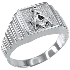 送料無料 ネックレス 新商品 新型 ホワイトゴールドmasonicリングwhite gold 人気ブレゼント! square masonic ring mens