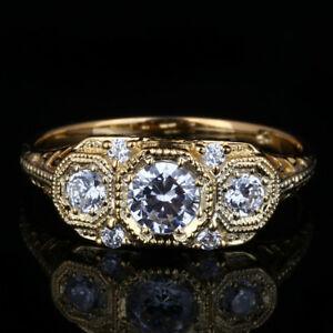送料無料 ネックレス special antique vintage 3stone オーバーのアイテム取扱☆ 期間限定お試し価格 semi mount 3 stone gold ringspecial so wedding solid14kyellow cz