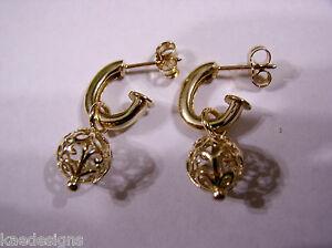 送料無料 ネックレス ローズボールフックイヤリングkaedesigns 5☆好評 本物 genuine 9ct rose earrings hook gold filigree ball
