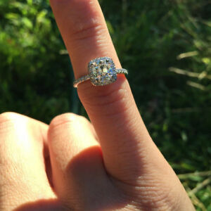【送料無料】ネックレス 2ctクッションカットmoissanite14kホワイトゴールド2ct cushioncut moissanite halo promise engagement ring 14k white gold over