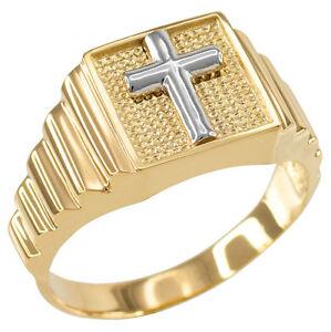 送料無料 ネックレス ゴールドクロススクエアメンズリングtwotone gold cross 格安 海外輸入 価格でご提供いたします mens religious square ring