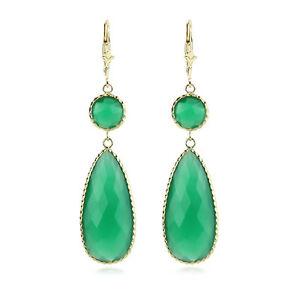 超激得SALE 送料無料 ネックレス シマメノウ14kイェローゴールドイアリング14k yellow 激安卸販売新品 gold gemstone onyx earrings green dangling with