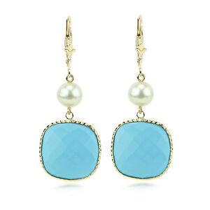 送料無料 ネックレス 激安通販販売 トルコ14kイェローゴールドイヤリングズ14k yellow gold gemstone pearls with 高級な turquoise earrings and