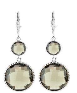 送料無料 ネックレス kホワイトゴールドラウンドスモーキートパーズイヤリング14k white gold earrings topaz gemstones with 低価格 smoky 贈答 round