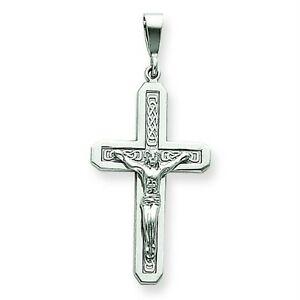 【送料無料】ネックレス kホワイトゴールドソリッドペンダント14k white gold solid polished hollow dc crucifix pendant