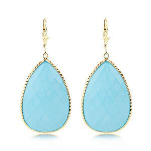 送料無料 ネックレス ナシトルコ14kイェローゴールドイアリング14k yellow gold gemstone earrings 爆安プライス turquoise with shaped pear 高品質新品 dangle