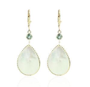 送料無料 ネックレス イエローゴールドパールグリーンサファイアイヤリング14k yellow gold 無料 dangle 有名な earrings sapphires pearl of and mother green with