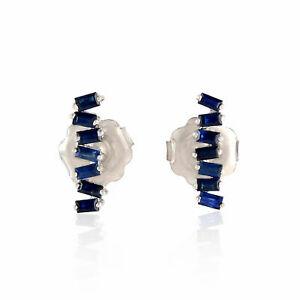 送料無料 ネックレス サファイアバゲットピアスイヤリング925blue 希少 sapphire gemstone baguettes earrings silver ついに入荷 925 stud jewelry