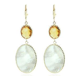 【送料無料】ネックレス イエローゴールドイヤリングパールシトリン14k yellow gold gemstone earrings with mother of pearl and citrine