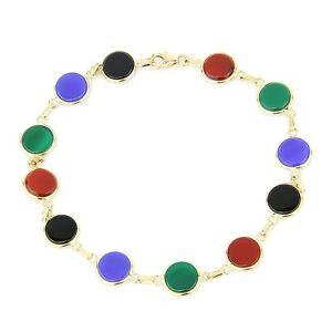 【送料無料】ネックレス ストーンズ8514kイェローゴールドmultiシマメノウ14k yellow gold multicolored onyx bracelet with round stones 85 inches