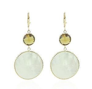 【送料無料】ネックレス パール14kイェローゴールドイヤリングズ14k yellow gold gemstone earrings with mother of pearl and round citrine