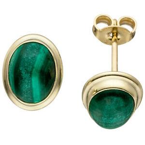 【送料無料】ネックレス イアリングマラカイトグリーン585イェローゴールドstuds earring ear jewelry, oval malachite green, 585 gold yellow gold ladies