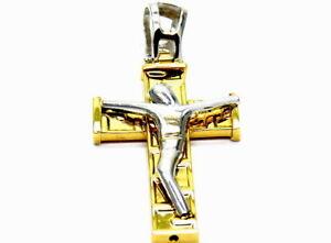 【送料無料】ネックレス ペンダント18kt 7501000キリストイエローホワイトゴールドpendant gold 18kt 7501000 cross christ yellow and white gold