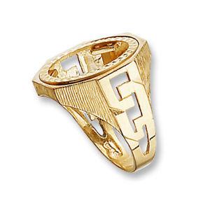 ネックレス 9ctイェローゴールド10シリングマウント9ct yellow gold hallmarked half sovereign ring mount with curb sides