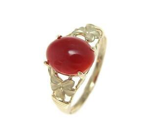 ネックレス genuine natural red coral ring solid14kyellow gold hawaiian plumeria flowergenuine natural red coral ring solid 14k yellow