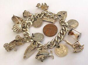 【送料無料】ネックレス 78gmヴィンテージfantastic ladies very heavy vintage solid silver charm bracelet 78 gm beautiful