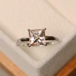 【送料無料】ネックレス 150 ctカットモルガナイト14kホワイトゴールドサイズj i m n o p150 ct princess cut morganite wedding ring real 14k white gold size j i m n o p