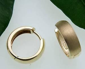 送料無料 ネックレス イアリングイアリングマット585イェローゴールドladies earrings drop hoop earrings matte shiny domed gold 585 yellow gold