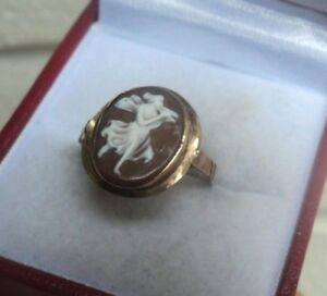 ネックレス ヴィンテージ14ctイェローゴールドカメオ サイズncarved vintage 14ct yellow gold hand made cameo ring of music muse    size n
