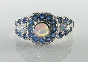【送料無料】ネックレス class 9k 9ct white gold opal blue sapphireart deco ins 27stone ring free sizeclass 9k 9ct white gold opal blue sapphire ar