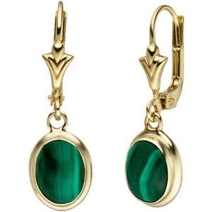【送料無料】ネックレス マラカイトグリーン585イェローゴールドイアリングboutonsイアリングearrings boutons earrings with malachite green oval, 585 gold yellow gold