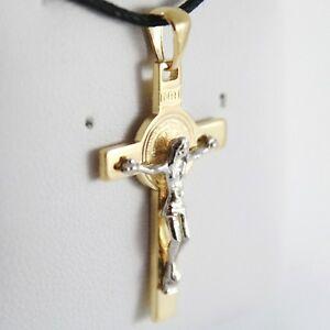 14K Gold Cross Pendant CZ P44