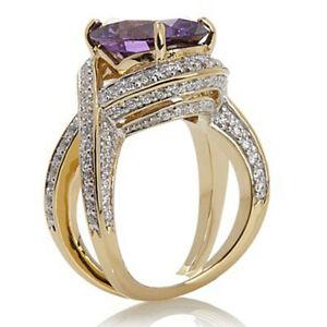 ネックレス kイエローゴールドスターリングアメジストリング579 ct 14k yellow gold over sterling dvvs1 amp; created amethyst ring