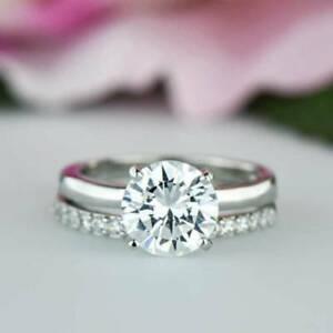 【送料無料】ネックレス ラウンドブライダルkホワイトゴールド2ct round moissanite bridal set engagement wedding ring 14k white gold over