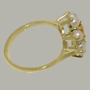ネックレス イエローゴールドシトリンフルパールクラスタリングサイズ14ct yellow gold natural citrine amp; full pearl womens cluster ring  sizes j to z