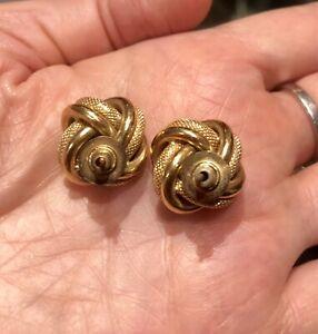 ネックレス kイエローゴールドノットイヤリングgenuine 18k yellow gold love knot earrings
