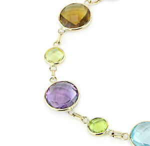 ネックレス イエローゴールドブレスレットインチ14k yellow gold bracelet with round shaped multicolored gemstones 75 inches