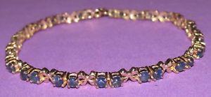 ネックレス イエローゴールドマルチサファイアラインブレスレットsecondhand ex gtv 9ct yellow gold multi sapphire line bracelet 205 cm