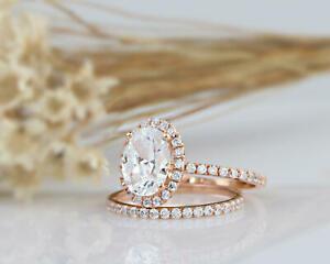 送料無料 ネックレス ハローウェディングローズゴールドリング160 tcw oval cut halo wedding engagement ring set in rose gold for womenPiuXkZ