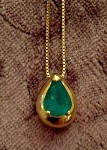 ネックレス ゴージャスコロンビアエメラルドイエローゴールドgorgeous columbian emerald 18ct yellow gold pearshaped chunky pendant