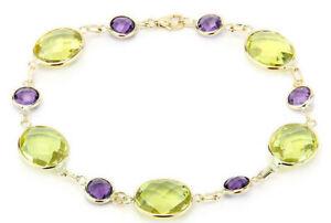 【送料無料】ネックレス アメジストレモントパーズ85インチ14kイェローゴールド14k yellow gold bracelet with amethyst and lemon topaz gemstones 85 inches
