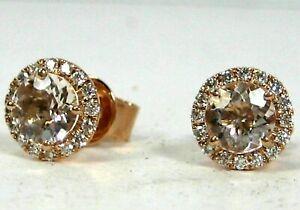 【送料無料】ネックレス イヤリングkローズゴールドハローmorganite earrings 14k rose gold halo untreated natural heirloom ap