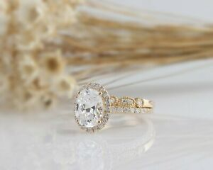 【送料無料】ネックレス 255 イェローゴールドセットtcwオーバルカット255 tcw oval cut halo bridal wedding engagement ring set in yellow gold