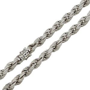 買取り実績  【送料無料】ネックレス encrusted ソリッドスターリングシルバーロープチェーンsolid 925 sterling silver sterling rh rope cz encrusted rope 11mm chains, 印刷広場:60e758e9 --- hafnerhickswedding.net