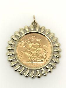 【送料無料】ネックレス ペンダントエリザベスゴールドフリルマウント1965 full sovereign pendant elizabeth ii 22ct gold frill mount 1045g
