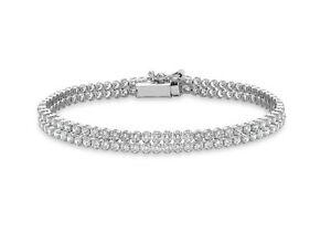 ネックレス ホワイトゴールドブレスレット9ct white gold stone double row bracelet 18cm7