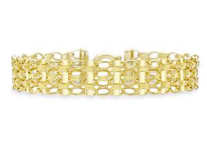 【送料無料】ネックレス イエローゴールドベルチャーバーリンクブレスレット9ct yellow gold oval belcher bar link bracelet 185cm725