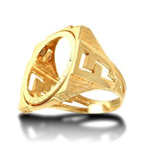 【送料無料】ネックレス メンズソリッドゴールドリンクマウントリングmens solid 9ct gold curb links square full sovereign mount ring