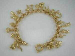 【送料無料】ネックレス ゴールドベルチャーリンクブレスレットlovely 9ct gold charm belcher link bracelet hmk  24 charms