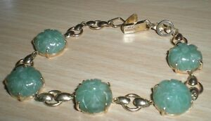 【送料無料】ネックレス secondhand 14ct yellow gold multi green jade bracelet20cmsecondhand 14ct yellow gold multi green jade bracelet 20cm
