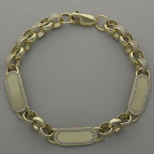 【送料無料】ネックレス ゴールドメンズトリプルベルチャーブレスレット¥9ct gold mens gemset triple id belcher bracelet 85 75 mm rrp 830 {cl43}
